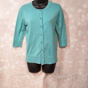 Light Aqua Teal Cardigan Half Sleeves Pearl Button
